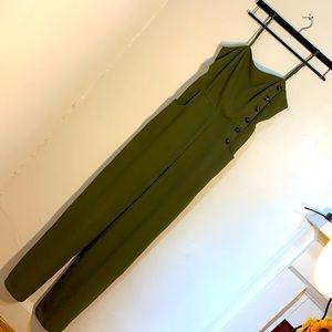 Earthy Green JumpSuit Adjustable Spaghetti Straps